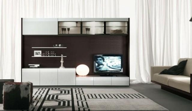 idée meuble de télé blanc marron
