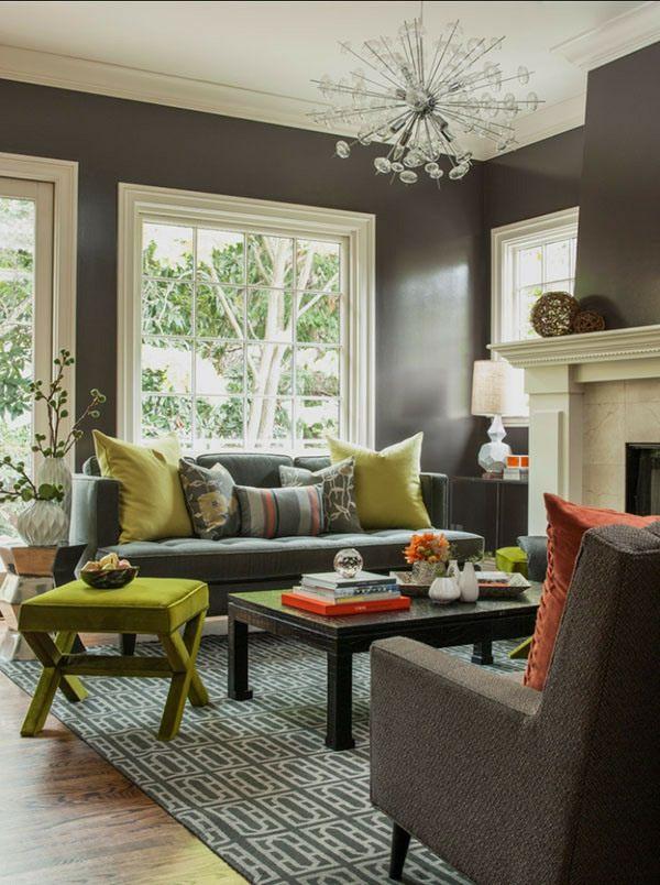 idées design salon gris bois vert