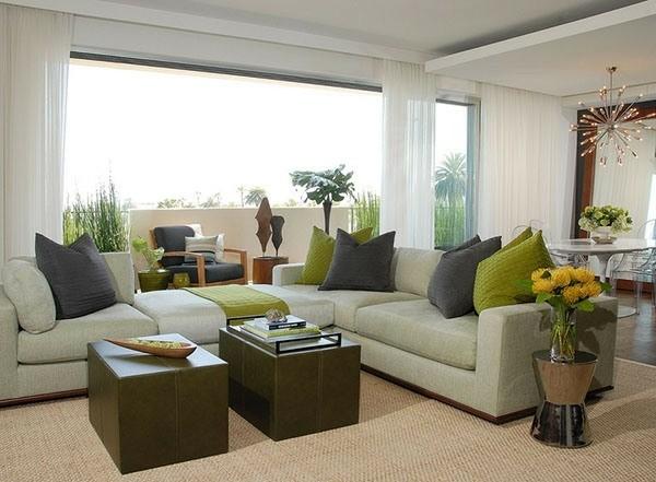 idées design salon gris vert
