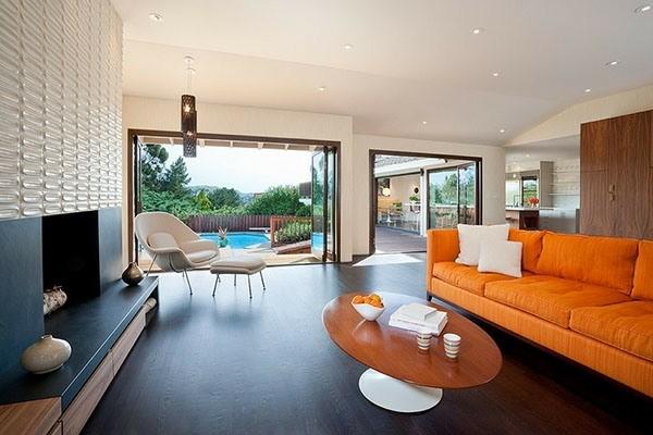 idées design salon sofa orange