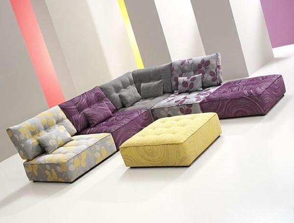 joli canapé design gris violet vert