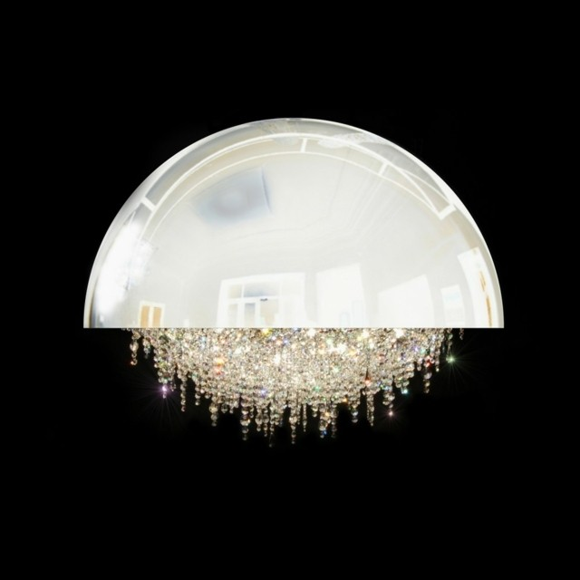 lustre blanc design cristaux original