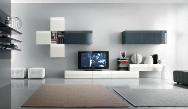 meuble design blanc tv rangements