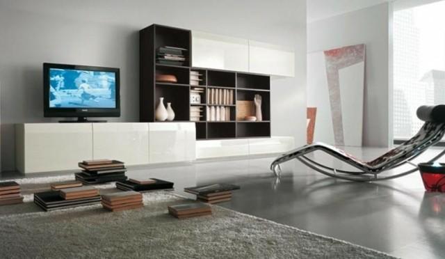 meuble élégant télé noir blanc