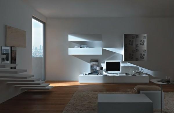 meuble mural TV design blanc minimaliste
