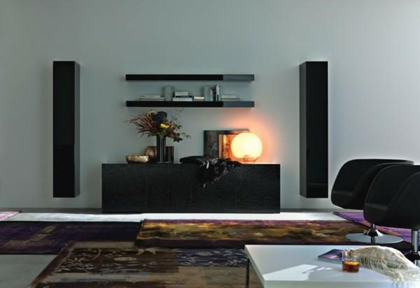 meuble mural noir tapis couleurs