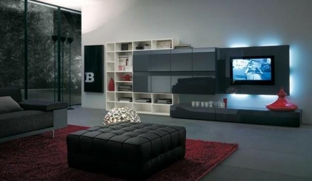 meuble noir télé mur contemporain