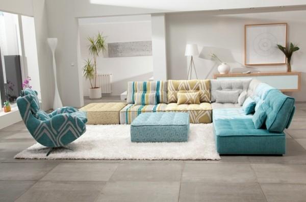 meuble salle de séjour canapé bleu
