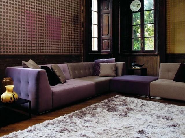 meuble salon canapé angulaire marron violet