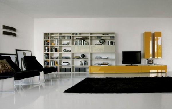 meuble tété design jaune laqué