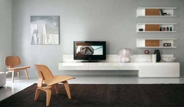 meuble télé blanc bois
