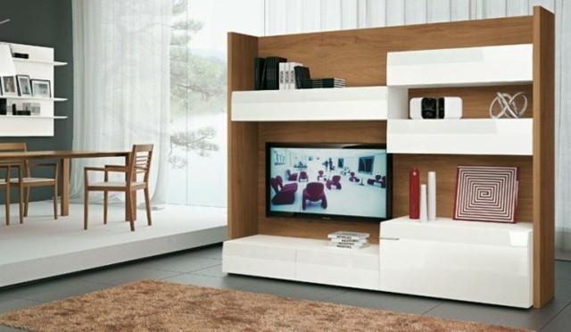 meuble télé bois blanc rangement