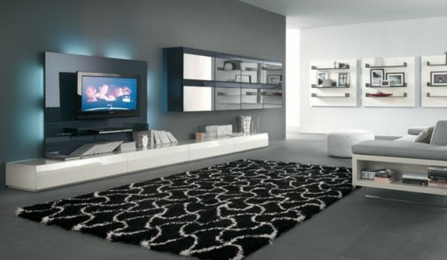 meuble tv blanc long