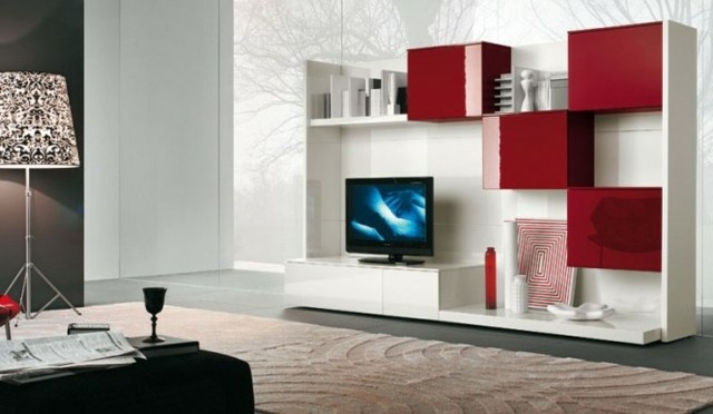 meuble tv blanc rouge placards
