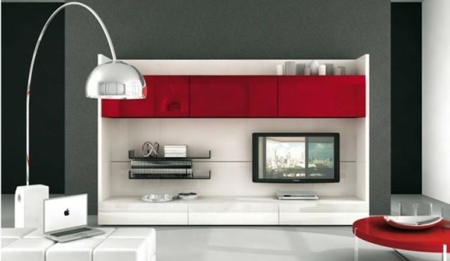 meuble tv rouge blanc plastique pratique