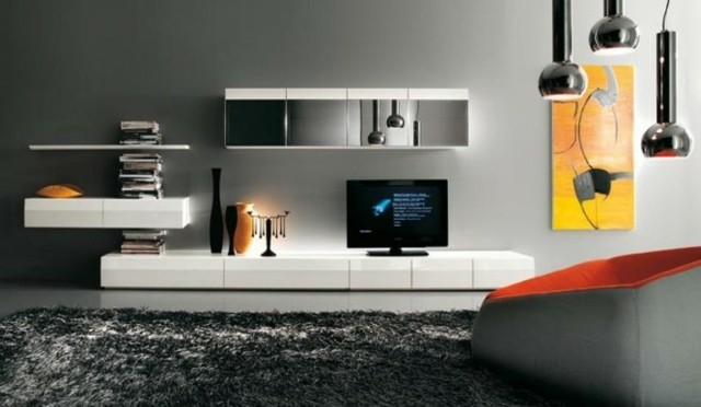 meuble tv simple blanc tiroirs