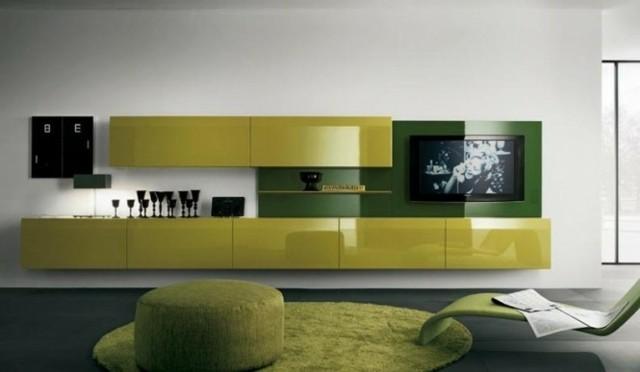 meuble tv vert vif laqué