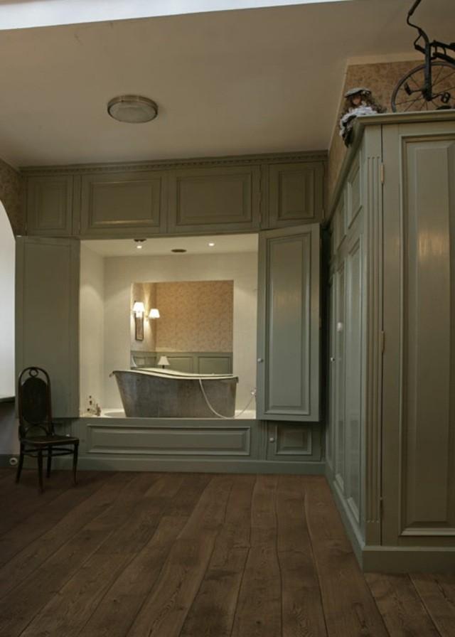 salle de bain plancher bois