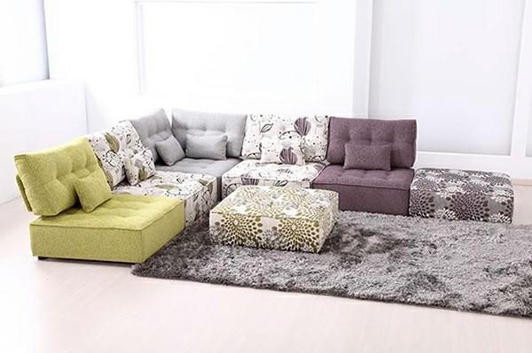 salle de séjour canapé modulable gris blanc
