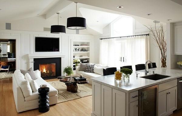 salon design unique blanc et noir