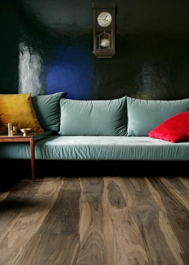 salon plancher bois courbé