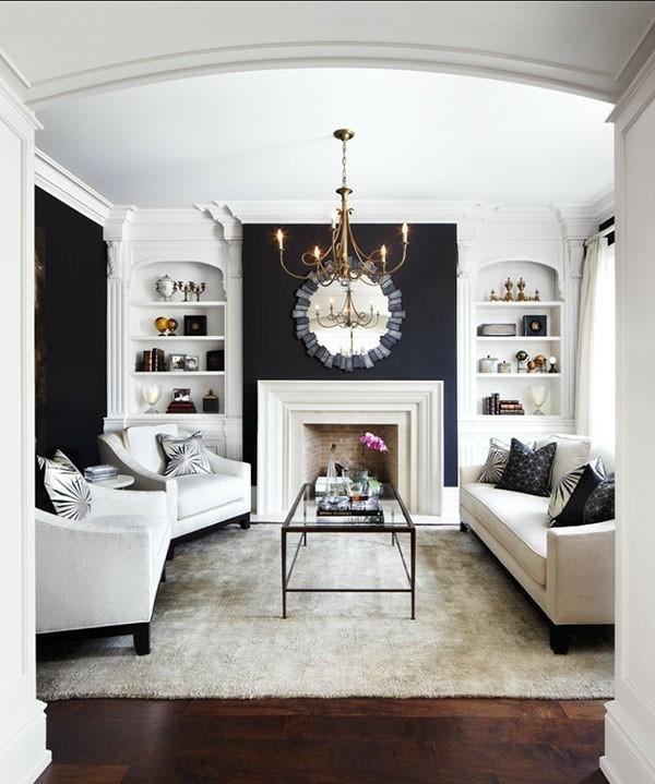 salon rétro moderne blanc noir