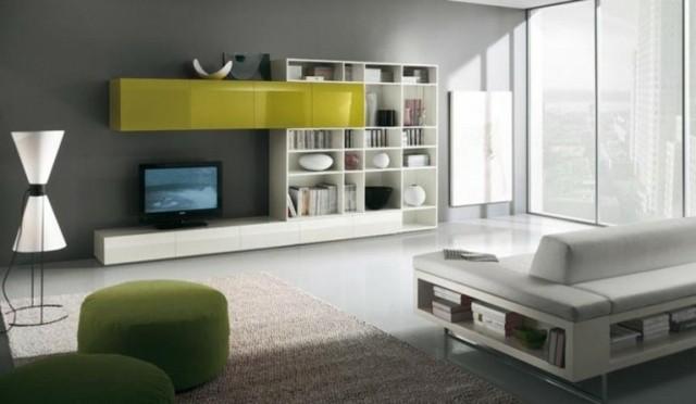 tv meuble vert blanc étagères