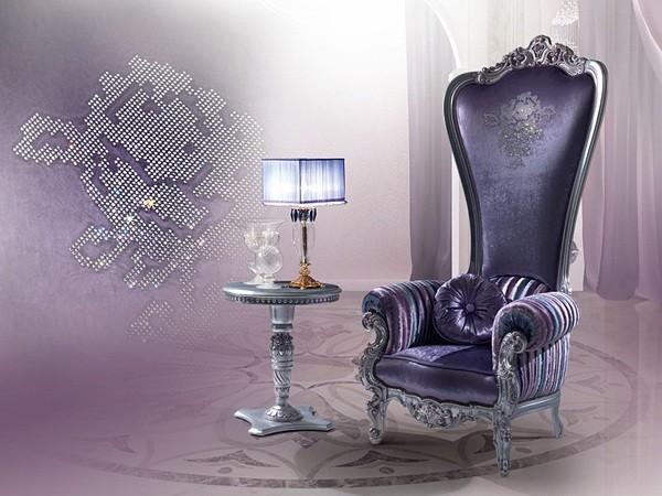 violet fauteuil salon meuble design