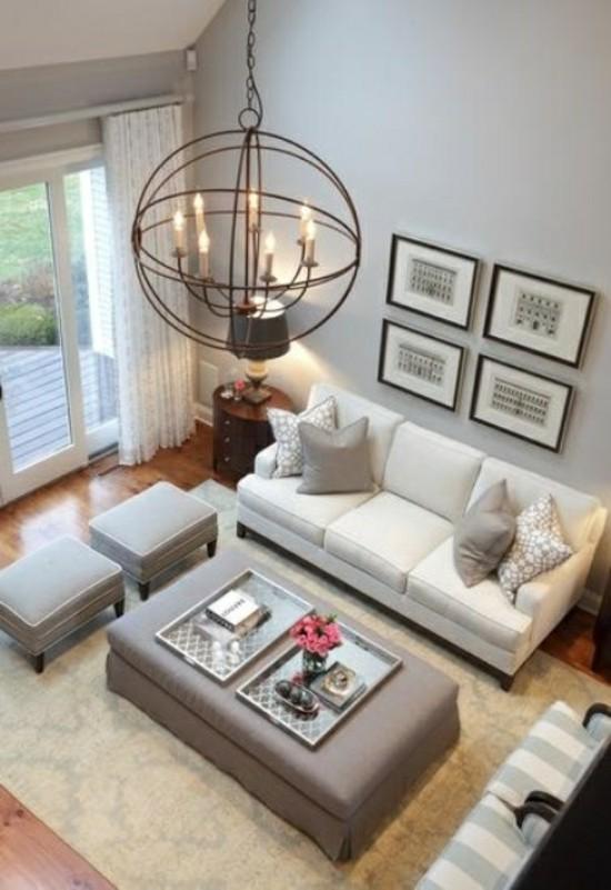 décoration séjour beige gris design