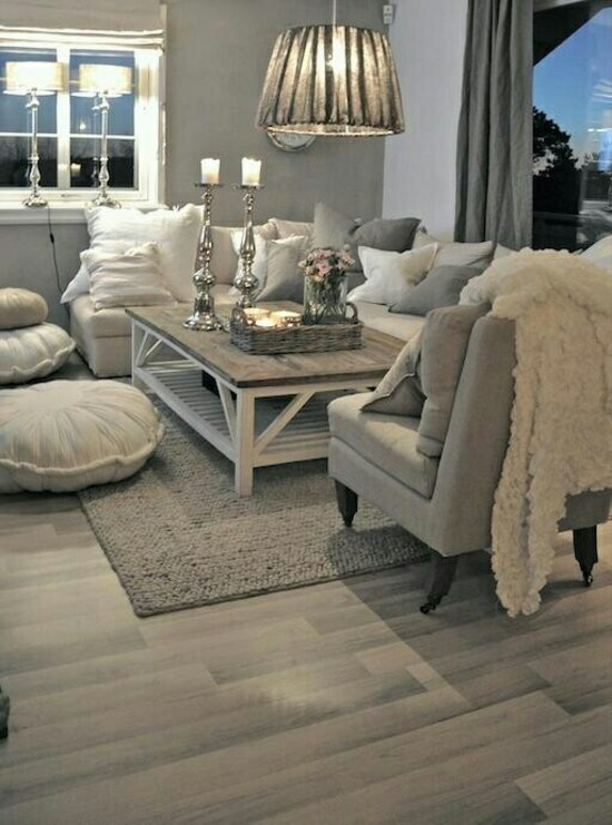 décoration séjour gris moderne