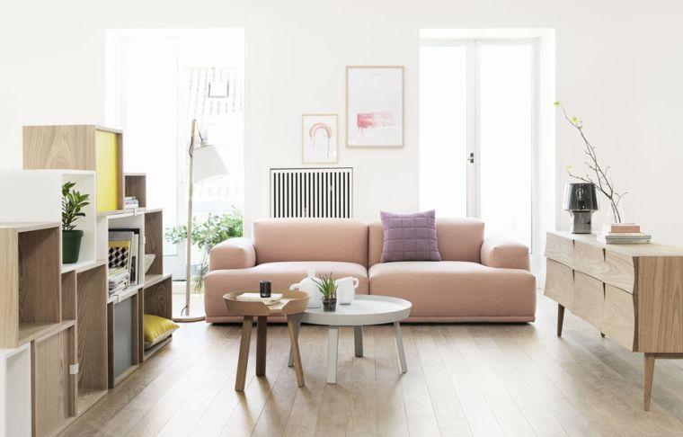 design scandinave salon-sejour-meubles-bois-canape-rose