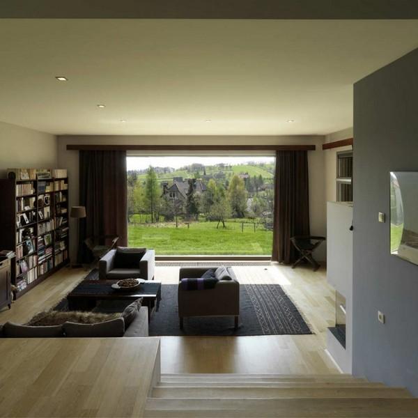 intérieur salon ouvert design bois