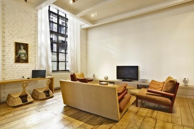 loft salon blanc brick