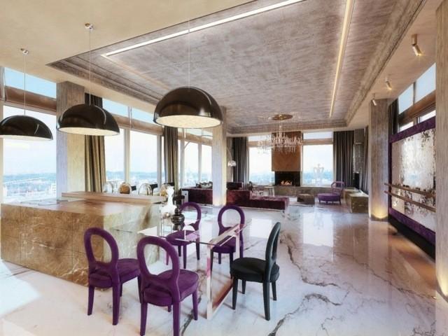 salon chaises violettes