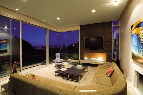 salon contemporain ouvert extérieur