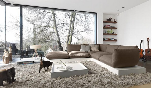 salon contemporain ouvert sofa