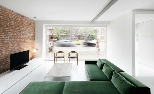 salon design vert blanc