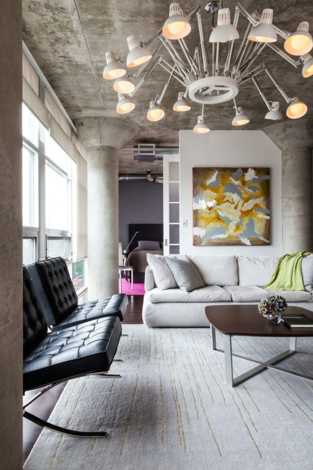 salon loft lampe intéressante