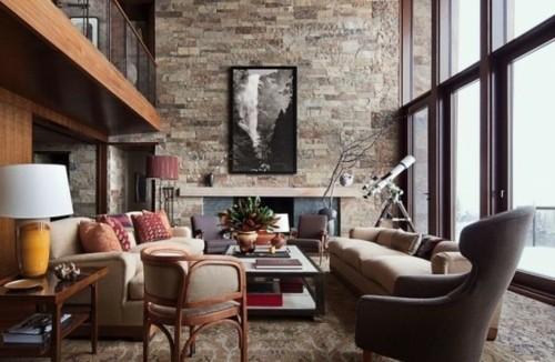 chalet interieur cabine montagne chasse mezzanine cheminee fenetre double hauteur