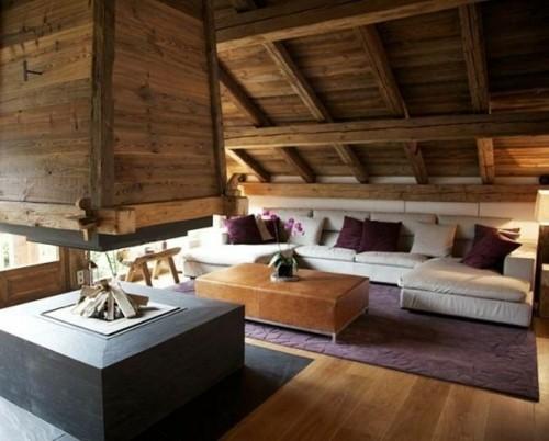 chalet toit pente bois hotte foyer canape montagne