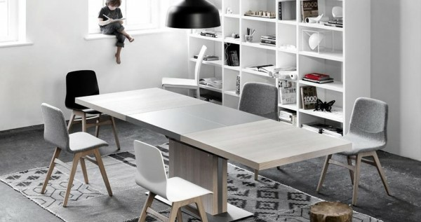 grande table rallonge bois grise