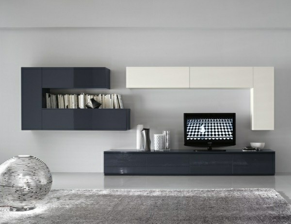 meuble TV blanc gris design