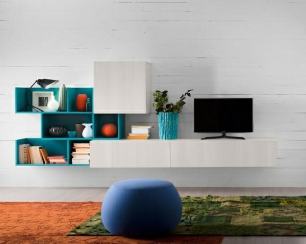 meuble télé blanc bleu original