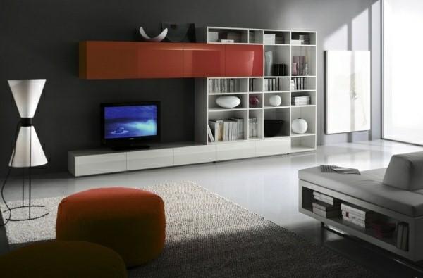 meuble tv laque blanc rouge