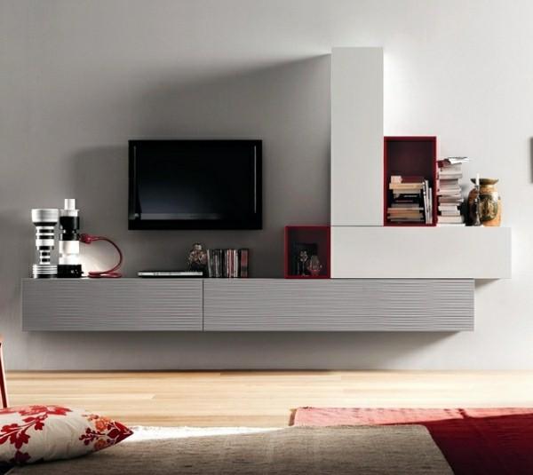 meuble tv rouge gris deco