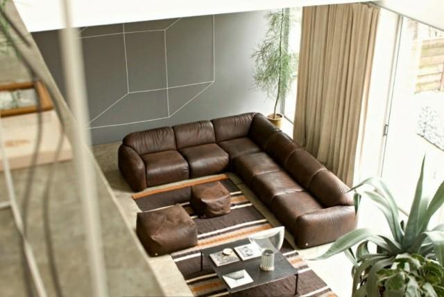 meubles salon cuir marroon