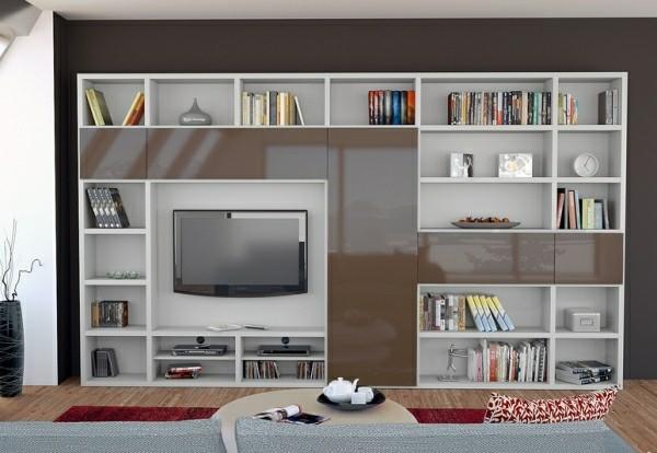 meubles télé blanc marron laque