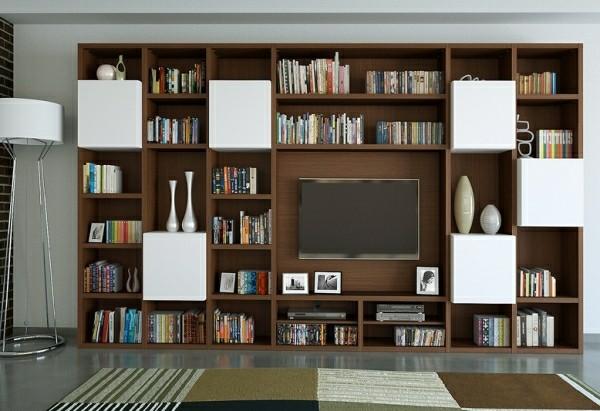 meubles télé bois bibliothèque moderne