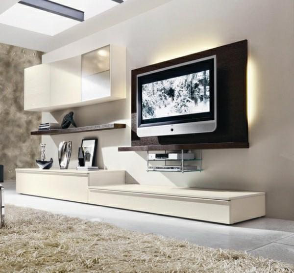 meubles télé bois blanc design