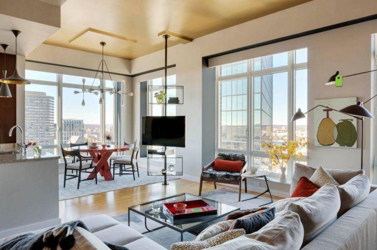meubles télé bois moderne salon decoration